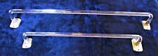 "Set of 2 Vintage Clear Glass Rod Towel Bars 18"" and 24"" with brackets"