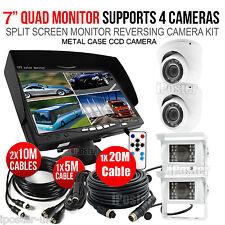 "4x 12V-24V Reversing Camera 4Pin+ 7"" 1/2/3/4CH Split Monitor Car Rear View Kit"