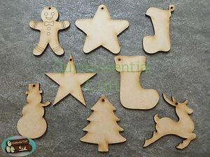 Wooden Laser Cut Christmas Shape Decoration Craft Blanks