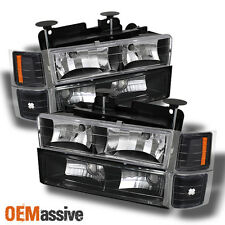 Fits 94-98 C10 C/K Silverado Tahoe Suburban Black Headlights+Corner+Bumper Light