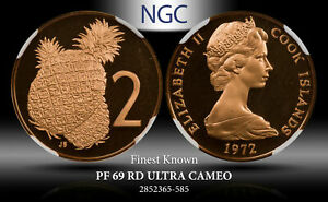 1972 COOK ISLANDS 2 CENTS NGC PF 69 RD ULTRA CAMEO FINEST KNOWN TOP POP