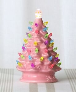 Large Retro Lighted Pink Ceramic Easter Egg Tabletop Tree Holiday Home Decor