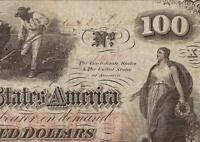 1862 $100 FULL HAND WRITTEN DATE CONFEDERATE STATES CIVIL WAR NOTE MONEY T-41