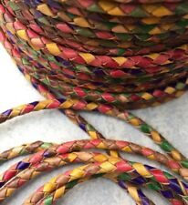 4mm Premium Genuine Leather Rainbow Round Bolo Leather Braided Cord Chirpy cb57