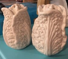 "Fitz & Floyd White Cabbage Leaf  3.25"" Salt & Pepper Shakers"