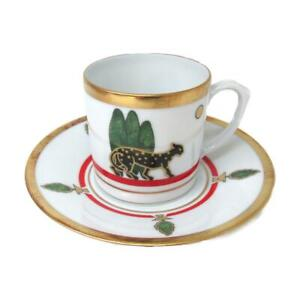 Cartier Demitasse Panther Louis 2 cup saucer Set Pottery White Gold Red Green