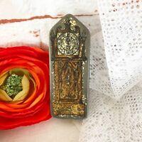 Rare Antique Grandfather Clock Tin Litho Box, Vintage Free Sample Size candy