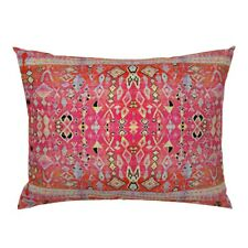 Kilim Moroccan Indian Indie Boho Ethnic Pink Pillow Sham by Roostery