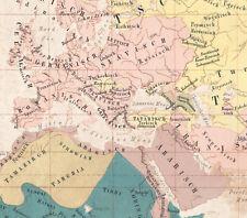 1858 Rare lithographie Carte des langues Europe Asie Afrique linguistique Ewald
