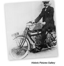 B.S.A MOTOR CYCLE 1910 PHOTOGRAPHED AT REDDITCH PREMISES VINTAGE MOUNTED PRINT