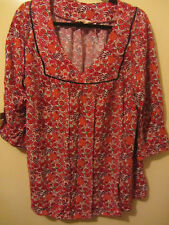 "LADIES SIZE 20 RED FLORAL SMOCK TOP ""MILLERS"" NWT"