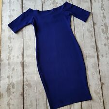 River island women blue bodycon stretchy pencil off-shoulder dress size 8