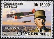 WWII BLOCH MB.210 Bomber Aircraft & Charles de Gaulle (Paris) Stamp
