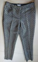 H&M Women's Gold Grey Geometric Straight Leg Pleated Front Trousers Size Eur 38