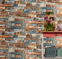 3D Stone Brick Wallpaper Background Vinyl Film Sticker Wall Self-adhesive Rustic
