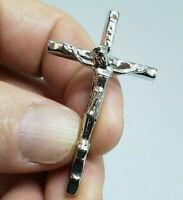 "Silver Plate Jesus Christ Crucifix Catholic Cross Pendant. 1-7/8"" - Italian Made"