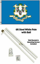 3x5 State of Connecticut Flag White Pole Kit Gold Ball Top 3'x5'