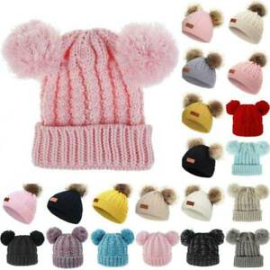 Toddler Baby Winter Thermal Knitted Beanie Hat Kids Children Warm Bobble Cap UK