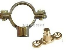 Qty 10 x 15mm Brass Pipe Ring and wall plate - Pipe Support Bracket Fixing