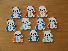 10 WOOD SEWING BUTTON PANDA ANIMAL SHAPE  ASSORTED   CRAFTS/SCRAP BOOKING