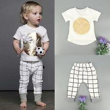 2pcs Newborn Infant Kids Baby Boys Clothes T-shirt Tops+Casual Pants Outfits Set