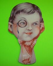Victorian Trade Card Anis Del Tigre Hand Paddle Fan Diecut Girl With  Monocle