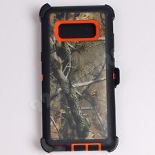 For Samsung Galaxy Note 8 Orange/Tree Camo Defender Case (Clip fits Otterbox)
