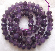 5x8mm Natural Amethyst Faceted Rondelle Loose Beads 15.5""