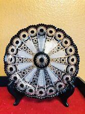 VTG Cut Crystal Deep Purple Platter; Bohemian; Nice detail