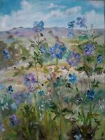 ORIGINAL,SIGNED Meadow Cranesbill, Wensleydale, Yorkshire Dales.OIL PAINTING.
