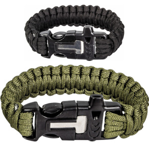 Highlander Paracord Wristband With Flint & Steel Fire Starter Survival Bushcraft