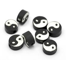 40 x YIN YANG Polymer Clay Spacer Beads