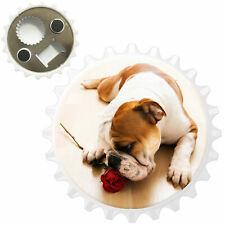 Bull Dog With Red Rose Bottle Opener Fridge Magnet