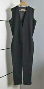 MAISON MARTIN MARGIELA WOMEN BLACK JUMPSUIT OVERALL WOOL CREPE 44 L JACKET PANT
