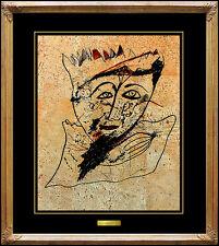 JAMALI Original Painting Pigmentation on Cork Abstract Profile Signed Artwork