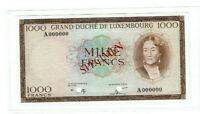 RARE Luxembourg Banknote 1000 Francs - Specimen - never issued - UNC