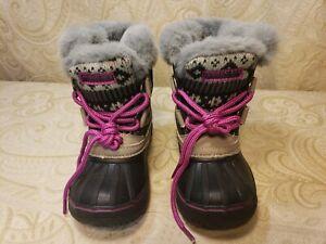 London Fog Toddler Girls Size 6 Winter Snow Boots Faux Fur Black & Pink