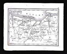 1833 Perrot Tardieu Miniature Map - Calvados - Caen Bayeux Pont l'Eveque France