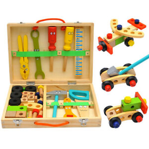 Großer Puzzle  Werkzeugkoffer für Kinder Holzkoffer Hammer Säge Stechbeitel