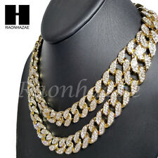 """Iced Out 14k Gold PT 15mm 8.5"""" - 24"""" Miami Cuban Choker Chain Necklace Bracelet"""