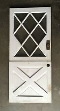 Vtg Solid Wood Dutch Door 10 Lite 76x34 Shabby Cottage Entryway Diamond 517-18E