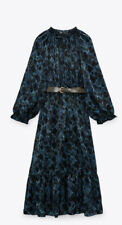 Zara Blue Snake Print Maxi Dress With Belt Size L BNWT