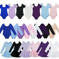 Kids Girls Ballet Dance Leotard Gymnastics Tutu Dress Bodysuit Unitard Dancewear