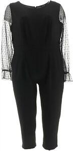 Du Jour Petite Mesh Slv Slim Leg Knit Jumpsuit Black PXS # A345759
