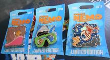 Disney Finding Nemo 15th Anniversary 3 Pin Set Le 2000 Pixar Dory Marlin Shark