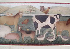 "FARM ANIMALS Cow Horse Sheep Pigs Geese  Wall border 9"" R"
