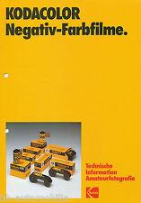 Prospekt Technische Information 12/81 Kodacolor Negativ Farbfilme 1981 Amerika