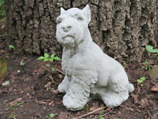 "New listing 8"" Tall Cement Schnauzer Dog Sitting Up Garden Art Statue Concrete"