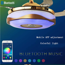 "42"" Bluetooth Music Player Invisible Ceiling Fan Light Led 7Color Chandelier"