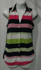 Maurices Size S Sleeveless Button Front Stripe Top with Sheer Full Back
